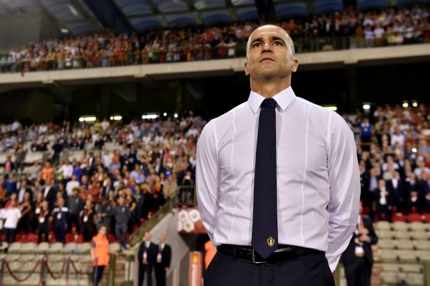 Football Soccer - Belgium v Spain - International Friendly - Brussels, Belgium - 1/9/2016. Belgium's new coach Roberto Martinez during the anthems. REUTERS/Eric Vidal