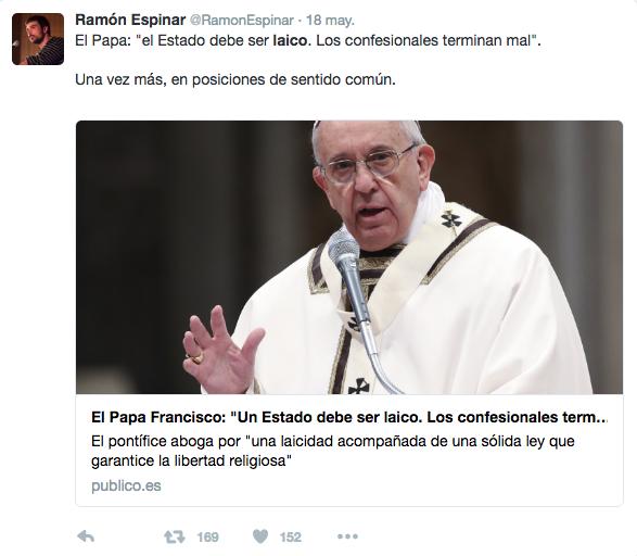 Ramón Espinar intenta felicitar el Ramadán y se equivoca