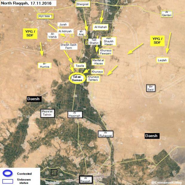 Así avanza la coalición internacional contra el ISIS en las afueras de Raqqa.