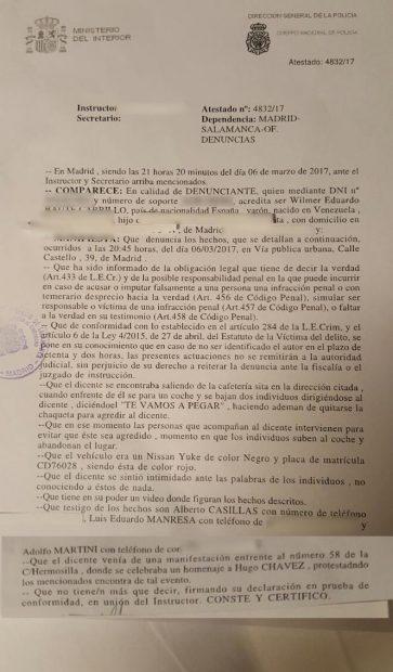 Diplomáticos de la embajada de Venezuela intentan agredir a un antichavista en el centro de Madrid
