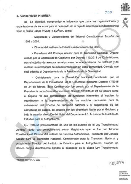 La Guardia Civil señala al exvicepresidente del Constitucional Carles Viver como figura clave del 1-O