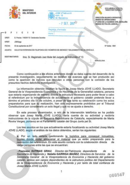 La Guardia Civil tiene claro que la candidata de ERC Marta Rovira dio las órdenes directas del 1-O