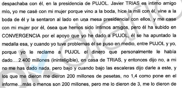 De la Rosa reclamó 14,5 millones a Pujol en casa de su 'íntimo' Trias y le devolvieron 1,2 en metálico