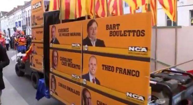 Los belgas se ríen en su carnaval del delirio separatista de Puigdemont y su alianza con los ultras de Flandes