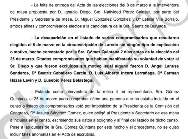 El equipo de Sáenz de Buruaga añadió y quitó votantes a lápiz en el congreso del PP de Cantabria