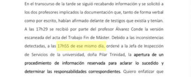 El rector envió el acta falsa a Cifuentes por mail y 19 minutos después abrió la investigación