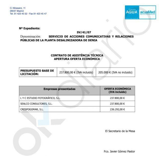 Acuamed preparó el concurso de la Desaladora de Denia para dárselo a Crespo Gomar antes de las elecciones