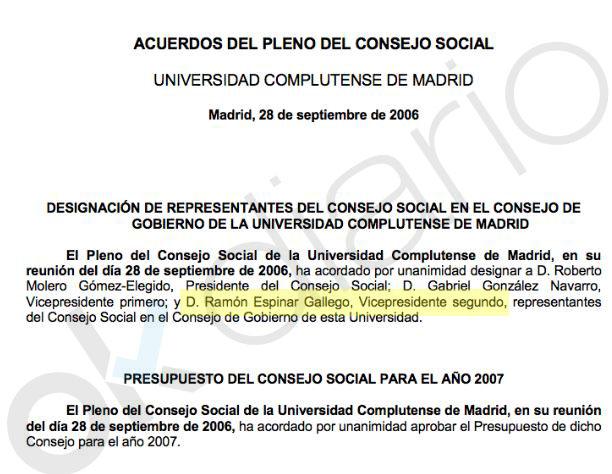 La Complutense dio una beca de 480 € al mes a Espinar siendo su padre black un jefe de la Universidad