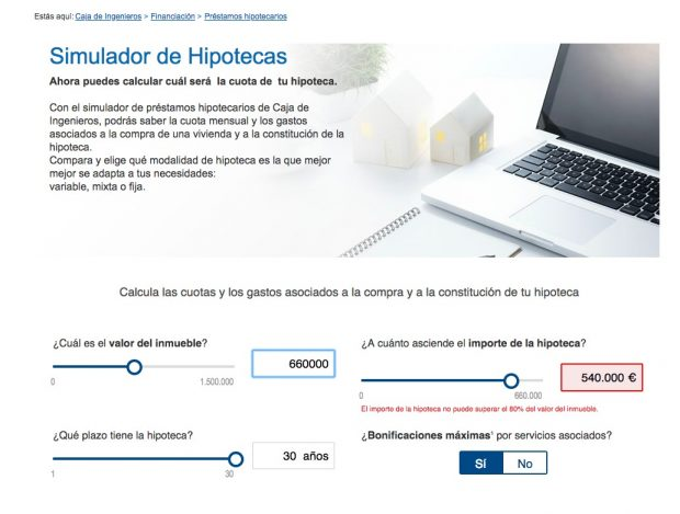 """El simulador de Caja de Ingenieros cuando metes el crédito de Iglesias: """"No puede ser concedido"""""""