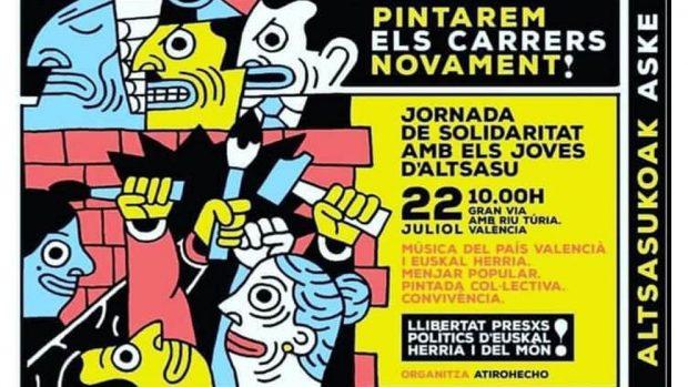 Compromís permite un mural gigantesco a favor de los matones de Alsasua en pleno Valencia