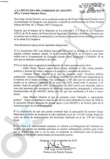 El PP denuncia el acto promocionado por el podemita Santisteve con una Grapo que asesinó a 9 personas