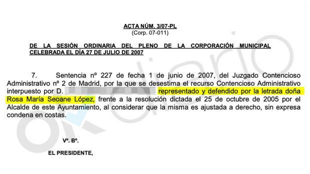 La abogada del Estado Rosa María Seoane asumió la defensa de su marido vulnerando la Ley de Incompatibilidades